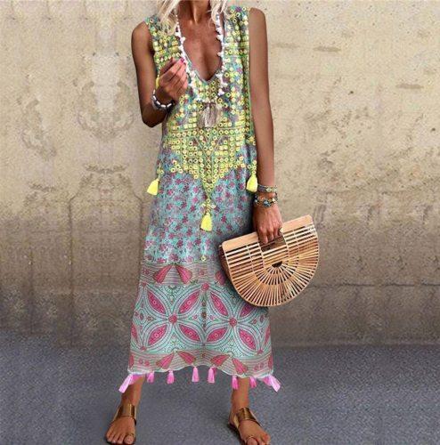 Bohemian Long Dress Women Vintage Printed Stitching V-neck Tassel Sleeveless Dresses Women Casual Summer Beach Dress