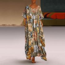Flower Dot Printing Loose Short-Sleeved Retro Dress