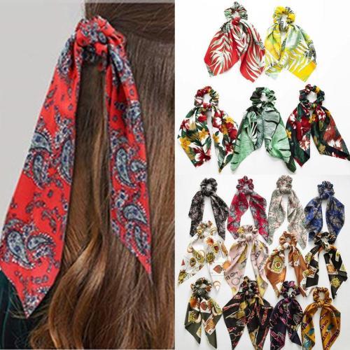DIY Bow Streamers Elastic Hair Scrunchies Bohemian Floral Printed Knotted Ribbon Ponytail Scarf Hair Ties Women Girls Hair Rings