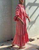 Loose Striped Lantern Sleeve Round Neck Maxi Dress