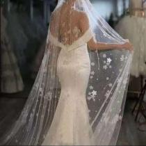 Pearls Beaded Long Bridal Veils Wedding Handmade Flowers One Layer Wedding Veil 3 M Length Cathedral Wedding Veil