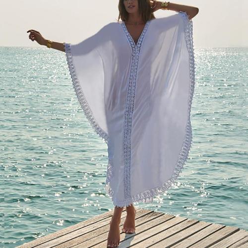 Bohemian Sun-Protective V Neck See-Through Splicing Lace Beach Pullover