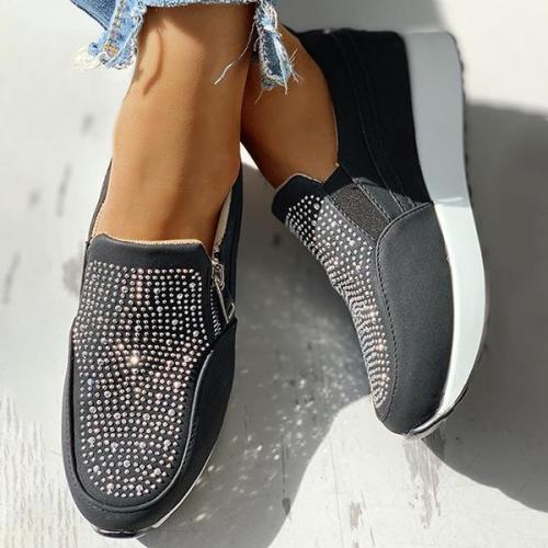 EBUYTIDE Suede Beads Design Zipper Platform Casual Sneakers
