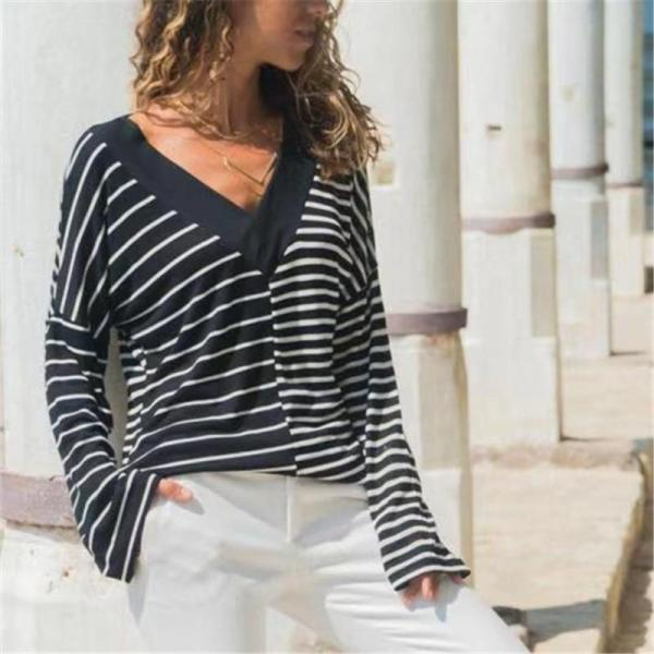 Casual Stripe color   matching v neck long sleeve T-shirt blouse
