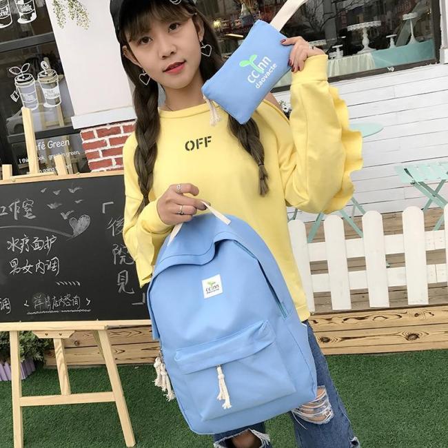 2020 Version coréenne du Printemps et de L'été décontracté Mode Sauvage Simple Germes De Soja Deux pièces Dames Sac À Dos
