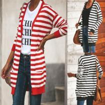 Fashion Striped Long-Sleeved Cardigan Sweater