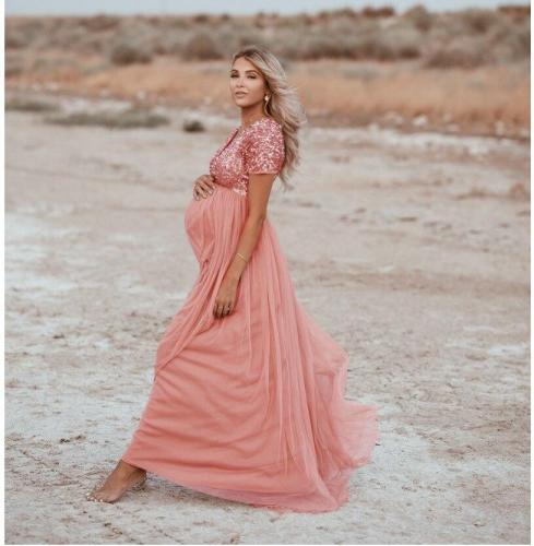 Cute Pregnancy Photography Dresses Elegence Maternity Shoot Dress Sequins Tulle Maxi Gown Clothes For Pregnant Women Photo Props