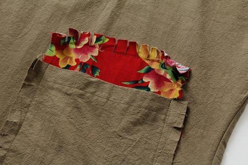 Floral Patchwork Half Sleeve Midi Dress