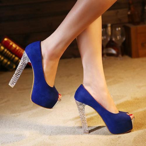 Candy Color Peep Toe Transparent Stiletto High Heels Sandals