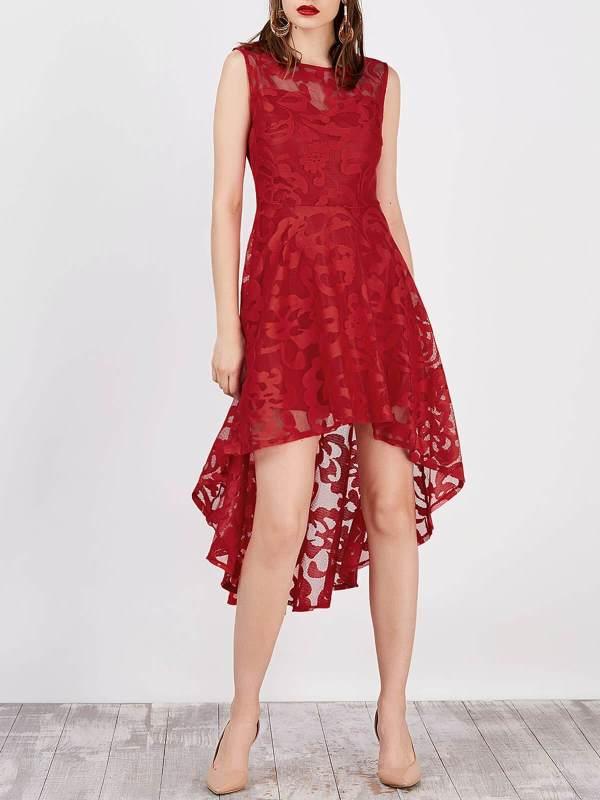 1950s Floral High Low Lace Dress