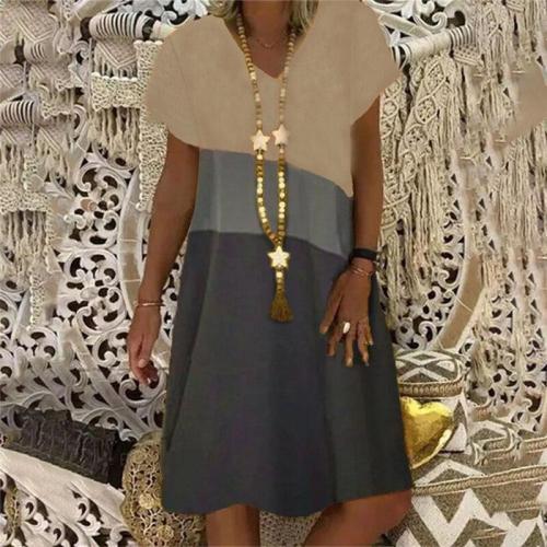 Patchwork New Ladies Dress Cross Travel Beach Leisure High Quality Versatile Elegant Fashion Ladies Dress