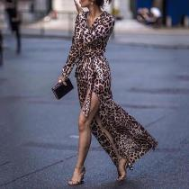 Sexy Leopard Print Side Vented Long Sleeve Vacation Maxi Dresses