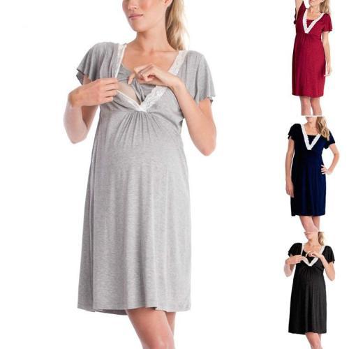 Maternity Breastfeeding Dresses Pregnant Women's High Waist Fold Maternity Dress Comfy Pregnancy Nursing Cotton Evening Dress