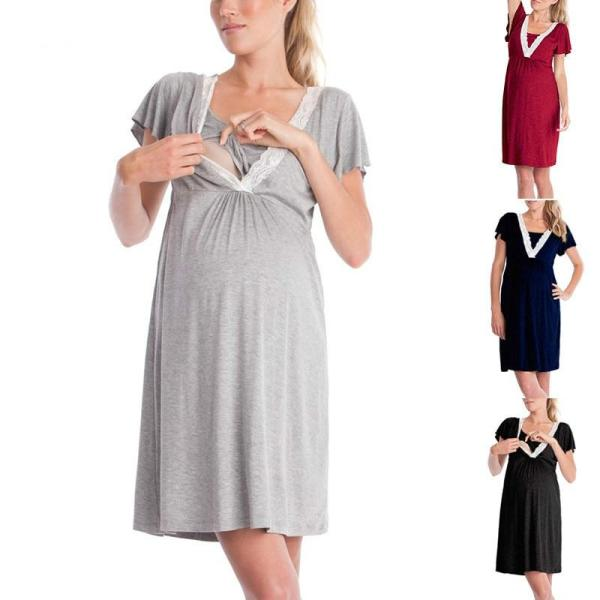 Maternity Breastfeeding Dresses Pregnant Women's High Waist Fold Maternity Dress Comfy Pregnancy Nursing Cotton Evening Dress