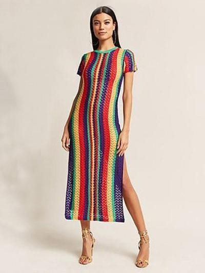 Colorful Stripes Split-side Cover-up Swimwear