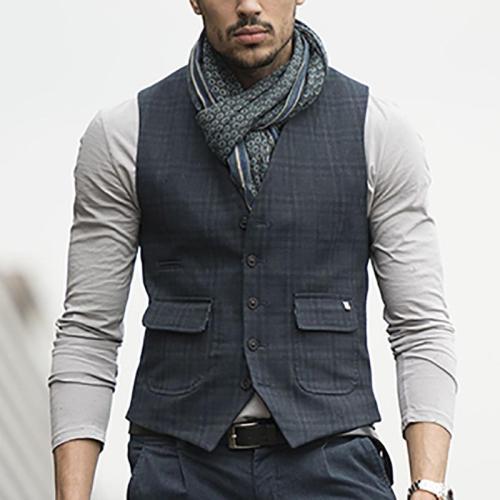 Commuting Plaid Single-Breasted Vest