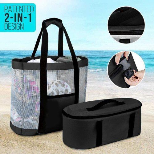 Women Mesh Transparent Bag Detachable Heat Cooler Preservation Large Picnic Beach Bags Holiday Beach Park Sports Bags