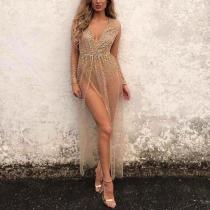 Sexy Deep V Split Hot Gold Long Sleeve Evening Dress