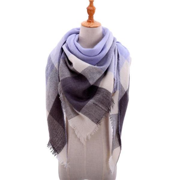 2020 Fashion winter warm Plaid Triangle Cashmere scarf for women Striped Blanket knitted shawl and Wraps Pashmina Female foulard