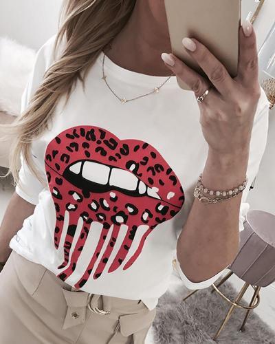Round Neck Lip Pattern Blouse
