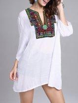Oversized Split Neck  Embroidery Blouse
