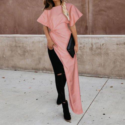 Fashion Irregular   Solid Color Tops