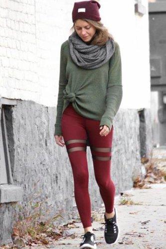 Pure Color Mesh Patchwork Yoga Slim Long Leggings