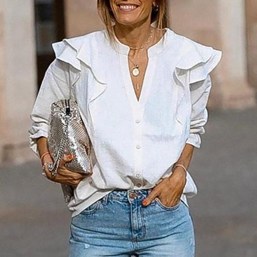 Casual Pure Color V Neck Long Sleeve Blouse