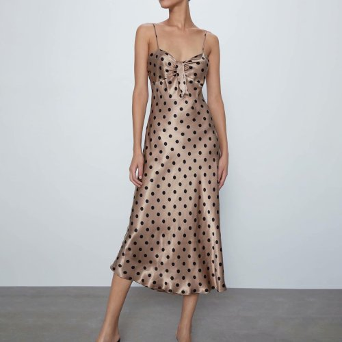 Sexy V Neck Polka Dot Maxi Dress