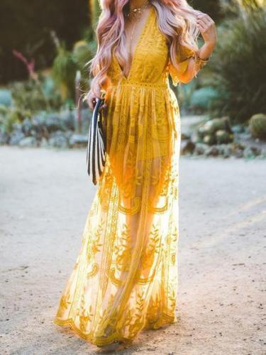 Yellow Lace V-neck Split-side Cover-up Dress