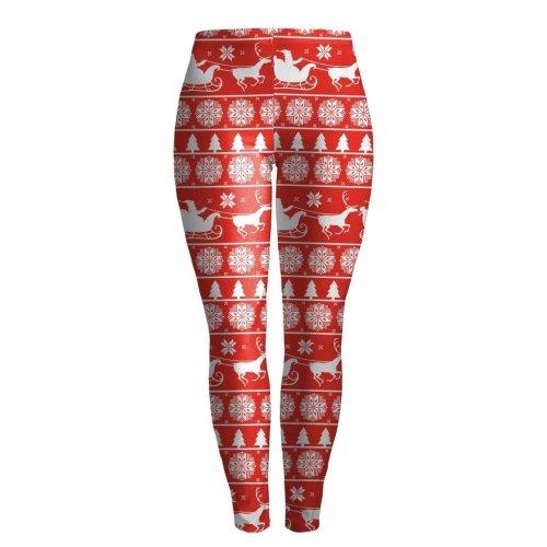 Reindeer Snow Print Women Christmas Red Skinny Legging