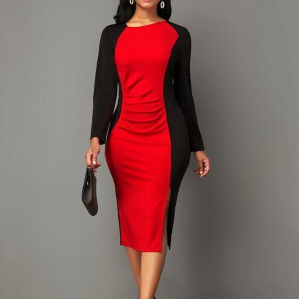 Contrast Stitching Slim Fit Commuter Dress