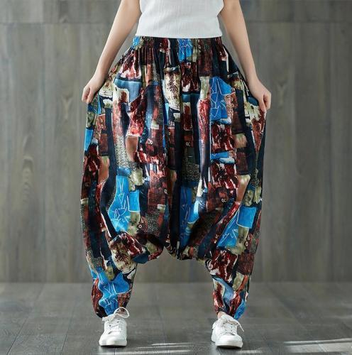 Colorful Plus Size Drop Crotch Harem Pants