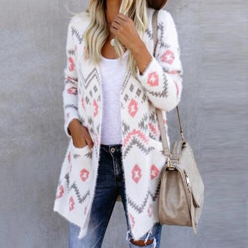 casual daily fluffy pattern long sleeves midi sweater cardigan