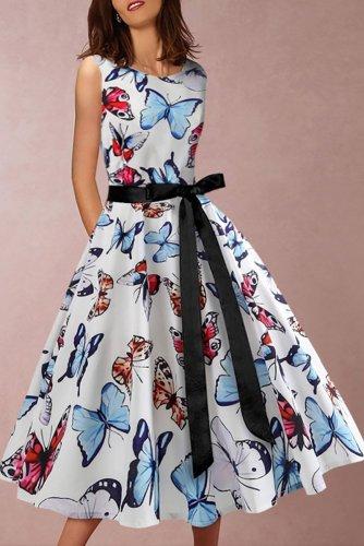 Round Collar Sleeveless Butterfly Print Swagger  skater Dress