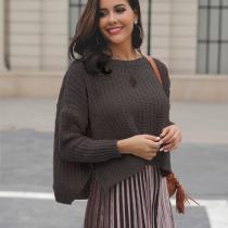 Scoop Split Irregular Long Batwing Sleeves Women Loose Short Sweater