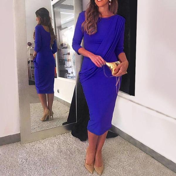Simple Solid Slim Fit Hip Temperament Dress