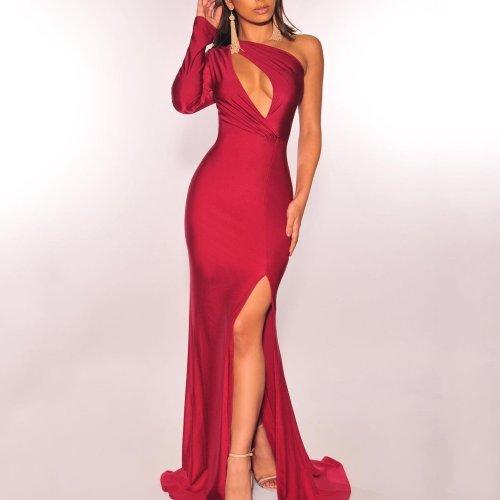 Elegant Noble Chic Slim Plain One Shoulder Fork Evening Dress