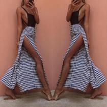 Fashion Check Loose Slit Broad Leg Pants