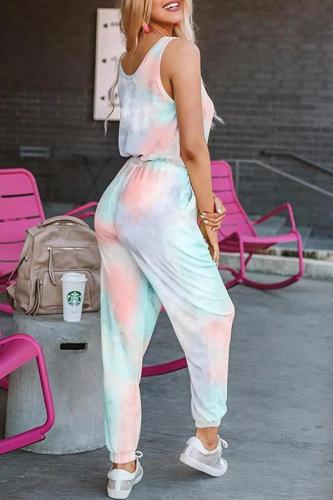 EBUYTIDE Fashion Tie-Dye Sleeveless Drawstring Jumpsuit
