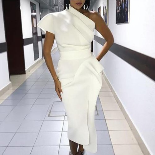 Elegant Sloping Shoulder Pure Colour Bodycon Dress