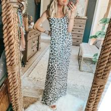 EBUYTIDE Fashion Leopard Print Sleeveless Slim-Fit Maxi Dress
