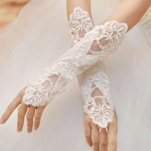 1 Pair Women Bridal Long Gloves Fingerless Embroidery Lace Glitter Sequins Solid Color Elbow Length Mittens Hook Finger We