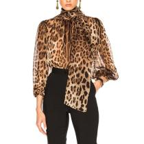 Fashion High Collar Belted Leopard Print Bishop Sleeve See-through Blouse