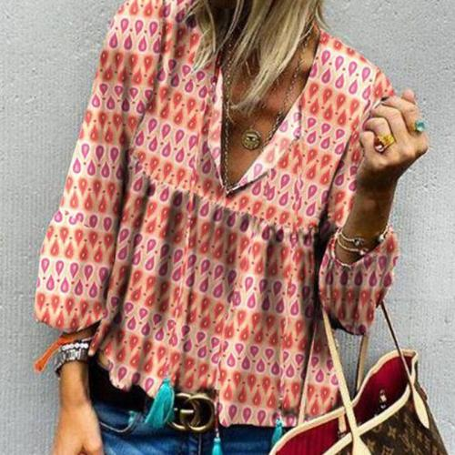 Casual V Neck Polka Dot Bell Sleeve Blouse