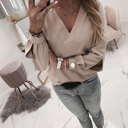 Fashion V Neck Pure Color Long Sleeve T-Shirt