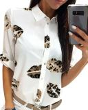 Lip Print Button Up Shirt