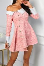 Fashion Sloping Shoulder Turndown Collar Mini Dresses
