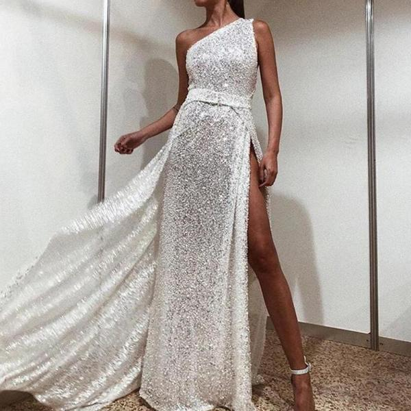 Elegant Sexy One Shoulder Side Slit Evening Dress