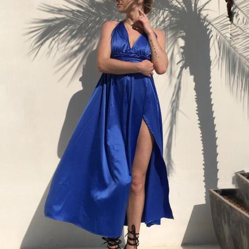 Maternity Pure Color V-Neck Halter  Backless Split Dress
